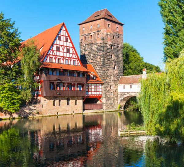 Scenic summer view of the Old Town architecture in Nuremberg, Germany