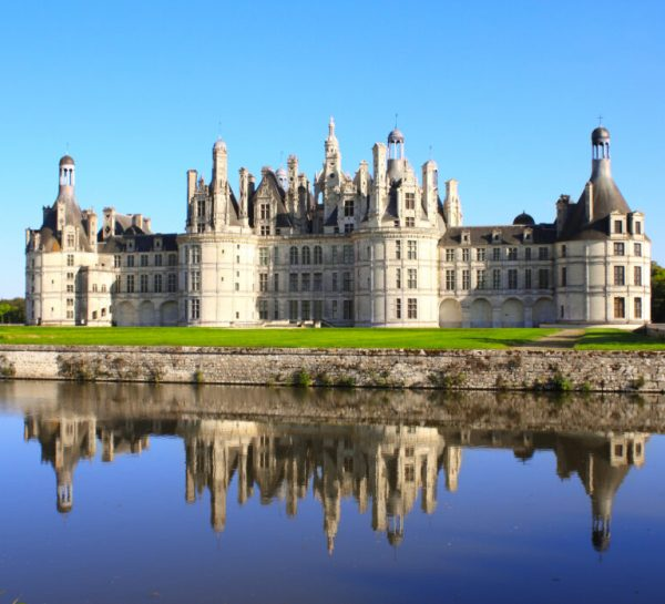 Famous Chateau Chambord castle with reflection, Loire Valley, France. UNESCO world heritage site