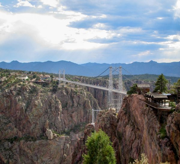 A view of the Royal Gorge Bridge from the side of the visitors center.